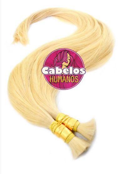 Cabelo Humano Premium Liso Loiro Pastel 70 75 cm 50 grs