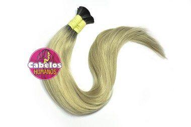 Cabelo Humano Premium Liso Ombré Hair Preto / Platinado 60 65 cm 50grs