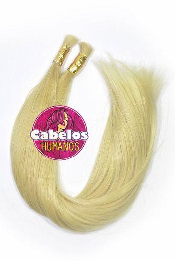 Cabelo Humano Premium Euro Liso Loiro Claro 80 85 cm 50 grs