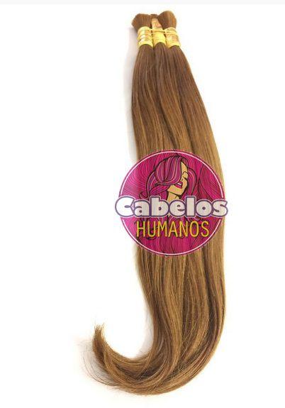 Cabelo Humano Liso Premium Loiro Dourado Escuro 60 65 cm 50 grs