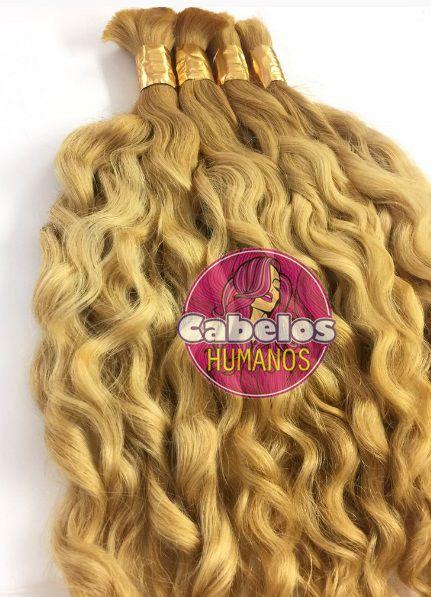 Cabelo Humano Cacheado Descolorido Loiro Dourado 70 75 cm 50 grs