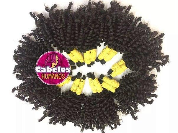 Cabelo Humano Permanentado Cacho 0 Black Afro 30 35 cm 50 grs