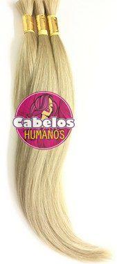 Cabelo Humano Premium Liso Loiro Perolado 60 65 cm 50 grs