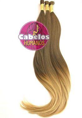 Cabelo Humano Premium Ombré Hair Avelã Escuro / Loiro 60 65 cm 50 grs