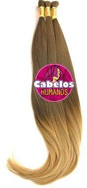 Cabelo Humano Premium Ombré Hair Avelã Escuro / Loiro 70 75 cm 50 grs