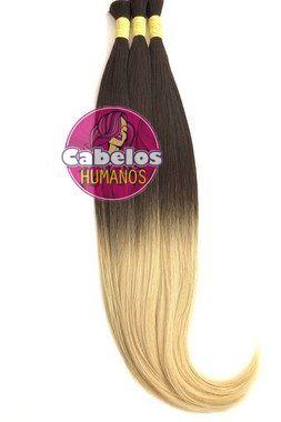 Cabelo Humano Premium Ombré Hair Chocolate Escuro / Loiro Claro 70 75 cm 50 grs