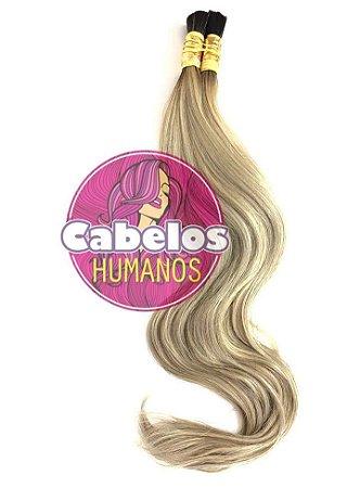 Cabelo Humano Premium Levemente Ondulado Ombré Hair Preto / Platinado Mesclado 70 75 cm 50grs