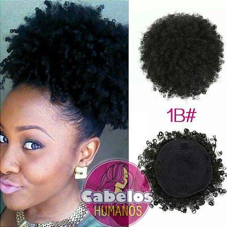 Aplique Afro Puff De Cabelos Humanos Cacheados