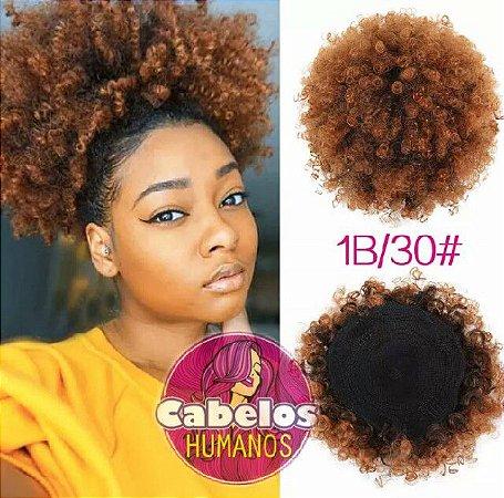 Aplique Afro Puff De Cabelos Humanos Mel