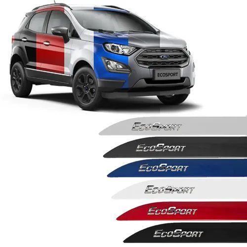 Jogo Friso Lateral Ford Ecosport Escrita Alto Cromada