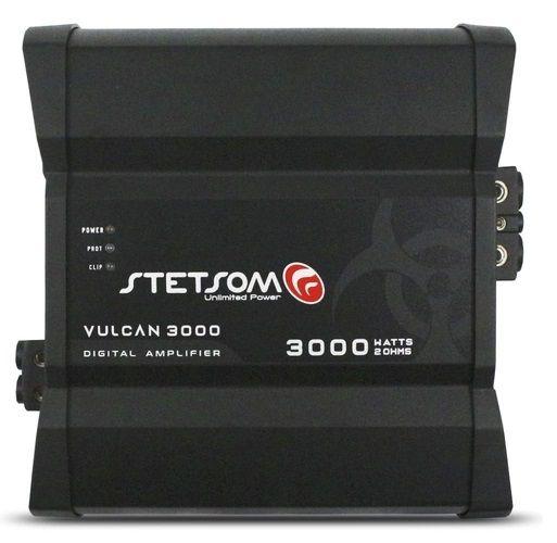 Módulo Amplificador Digital Stetsom Vulcan 3000W RMS 2 Ohms RCA 1 Canal Som Automotivo