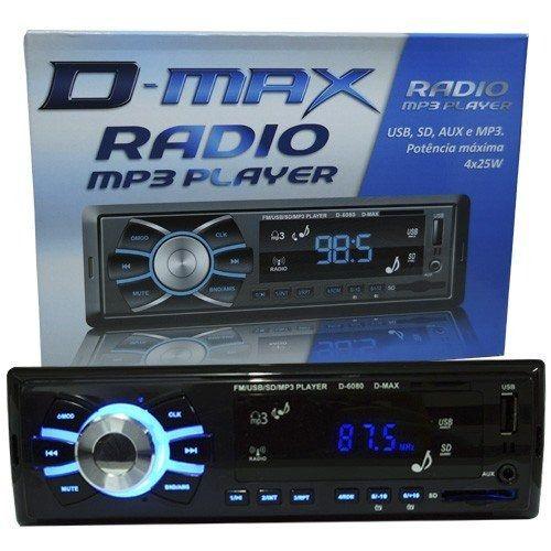 RÁDIO MP3 PLAYER AUTOMOTIVO SOM CARRO D-MAX D6080 SD USB FM