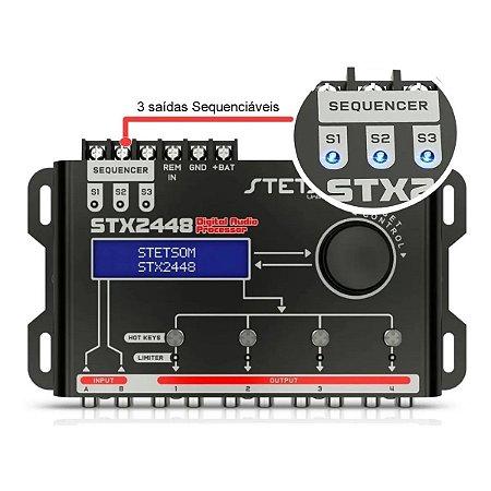 Processador De Áudio Digital Stx2448 Stetsom com Sequenciador,  Equalizador e Crossolver