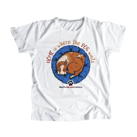 "Camiseta Feminina Baby Look ""Home is where the dog waits"""