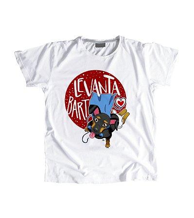 """Camiseta Feminina Baby Look """"Levanta Bart"""" Marrom"""