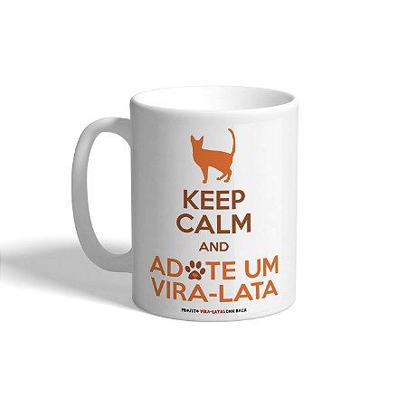 """Caneca de Porcelana """"Keep Calm - Gato"""""""