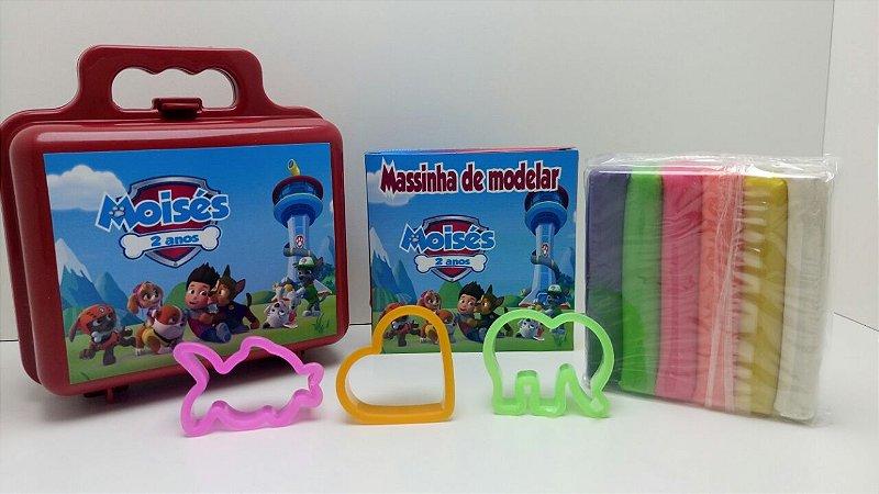 Maletinha + Massinha de modelar + 3 cortadores Tema Patrulha Canina