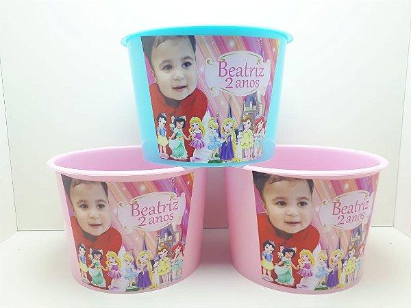 10 Balde de Pipoca Com foto Princesas Baby
