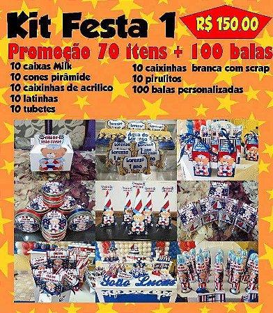 Kit Festa 1 de Personalizados 70 Itens + 100 Balas