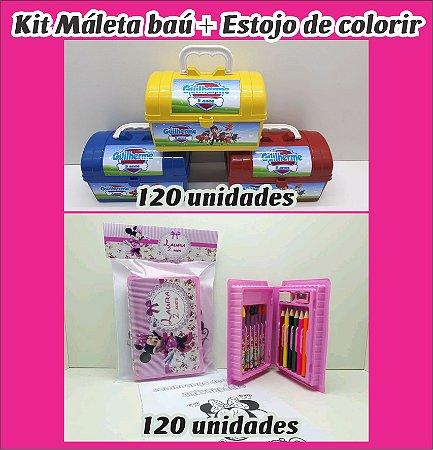 Kit maleta e bau e estojo de colorir 120 peças de cada (Personalizamos em todos os temas)