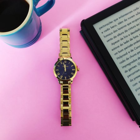 Relógio Technos Analógico Dourado com Azul  2035mku/4a
