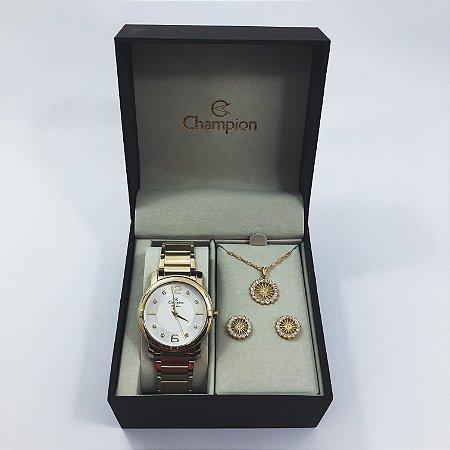 Relógio Feminino Champion com Colar e Brincos Mod: CN25252W