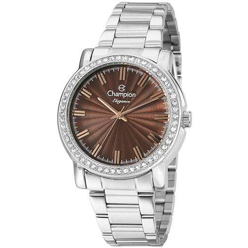 Relógio Feminino Champion Prata com Pedras Mod: CN27250O