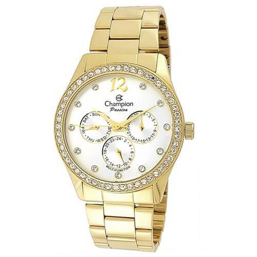 Relógio Feminino Dourado com Pedras Mod: CH38404H