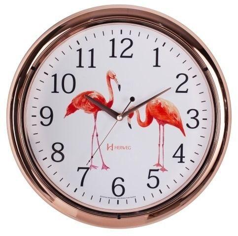 Relógio de Parede Herweg Analógico Redondo Flamingos 40cm