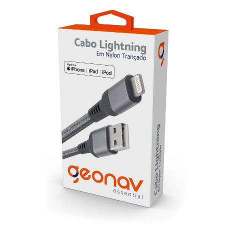 Cabo para iPhone Lightning Nylon Reforçado 1m Cinza Geonav