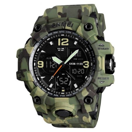 Relógio Unissex Skmei Digital Emborrachado Verde Camuflado