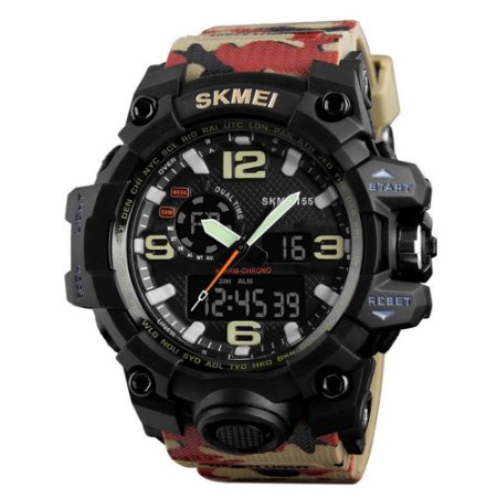 Relógio Anadigital Skimei Unissex Bege Camuflado