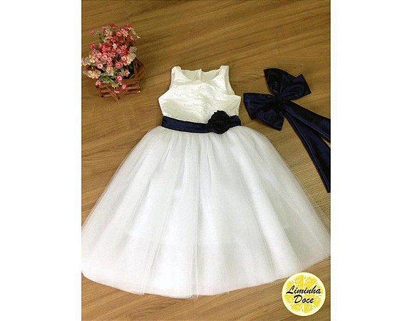 Vestido de Branco com Preto - Infantil