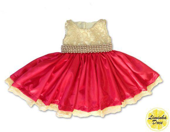 Vestido Infantil de Daminha Vermelho com Dourado