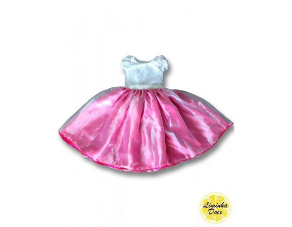 Vestido de Festa Rosa Pink e Branco - Infantil