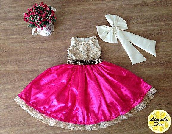 Vestido de Daminha  Pink com Dourado - Infantil