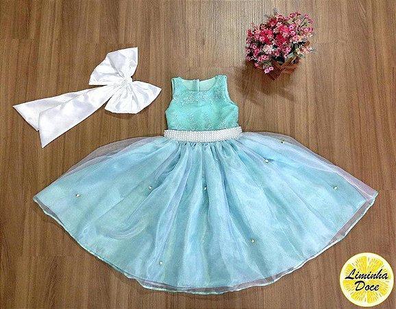 Vestido Verde com Pérolas - Infantil