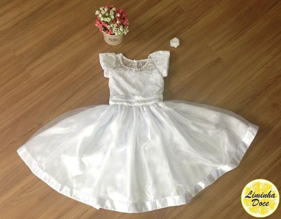 Vestido de Alta Costura Branco - Infantil