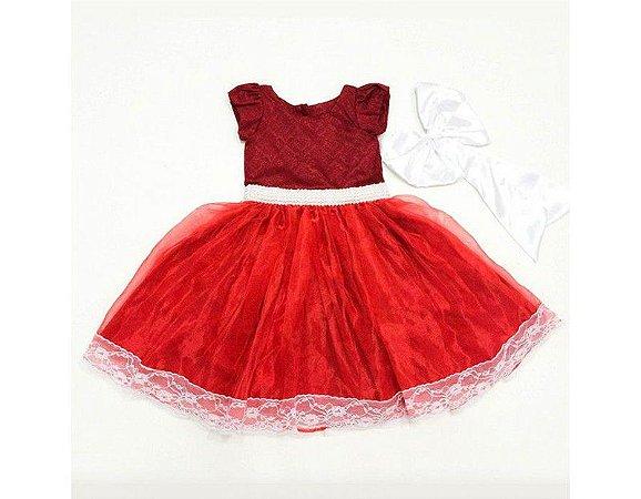 Vestido de Daminha Vermelho em Jacar - Infantil