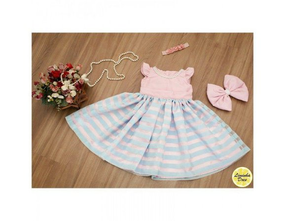 Vestido de Daminha Organza Azul - Infantil
