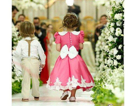 Vestido Pink e Branco com Pérolas e Renda - Infantil