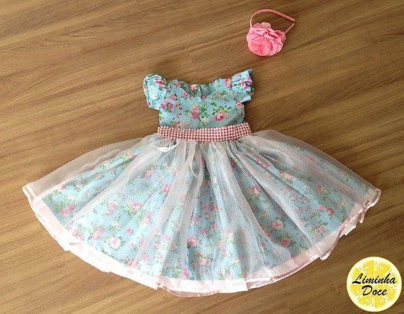 Vestido de Festa com Floral Azul - Infantil
