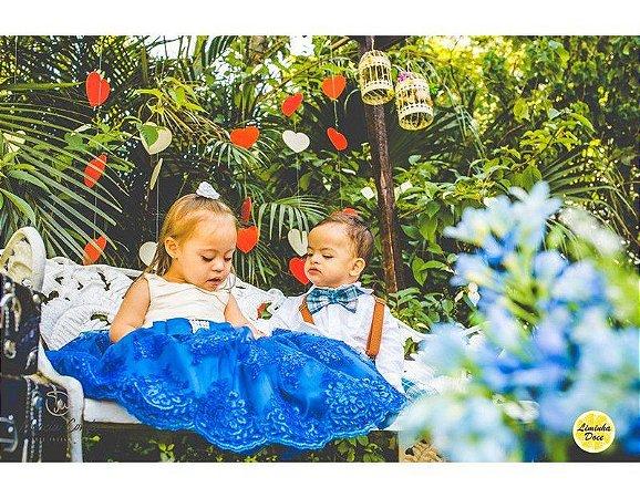 Vestido de Daminha Azul com Off-White - Infantil