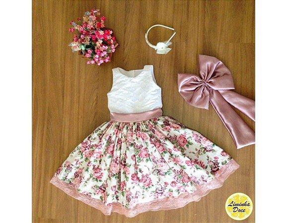 Vestido de Daminha com Floral Rose - Infantil