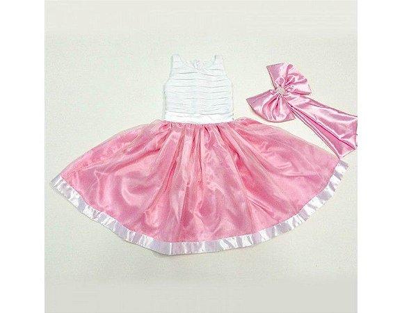 Vestido de Daminha Branco e Rosa - Infantil