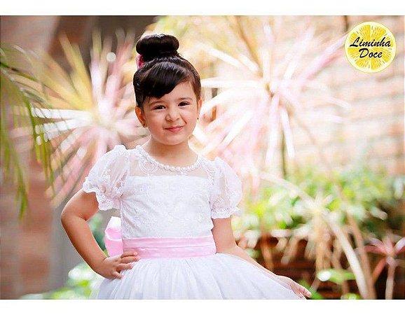 Vestido de Daminha Branco com Rosa - Infantil