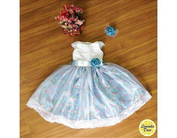 Vestido de Daminha Azul Floral - Infantil