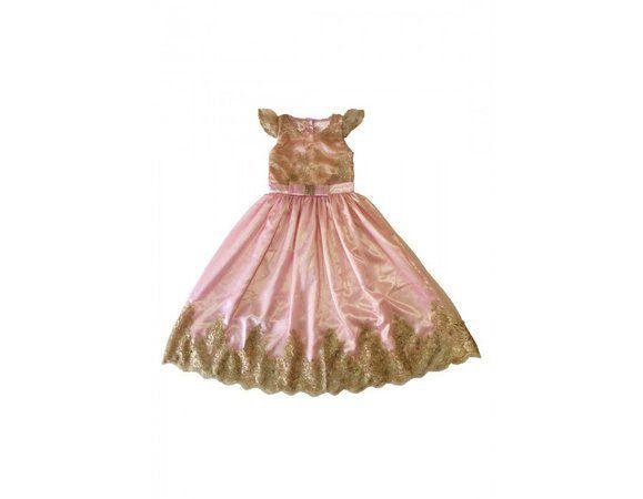 Vestido para Daminha Rosa e Dourado - Infantil