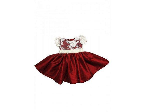 Vestido de Daminha Marsala com Renda - Infantil