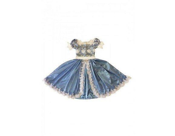 Vestido de Daminha Azul com Tule Bordado - Infantil